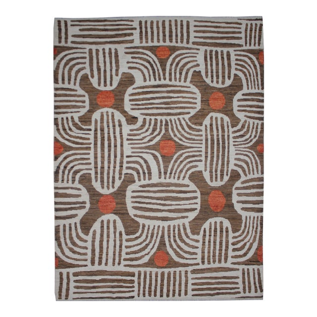 """Hand Knotted Ikat Rug - 9'11"""" X 8' - Image 1 of 5"""