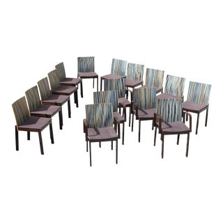 1940s French Art Deco Modern ''Stripes Vertical'' Dining Chairs - Set of 16 For Sale