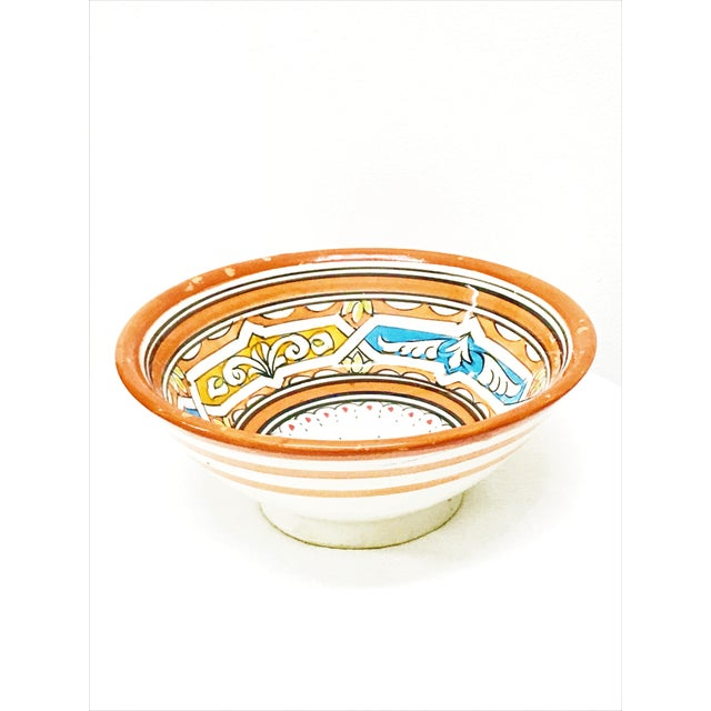 Moroccan Moroccan Hand-Painted Orange Ceramic Bowl For Sale - Image 3 of 3