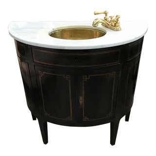 French Demilune Vanity Cabinet With Marble and Brass Sink Unit Overlay For Sale