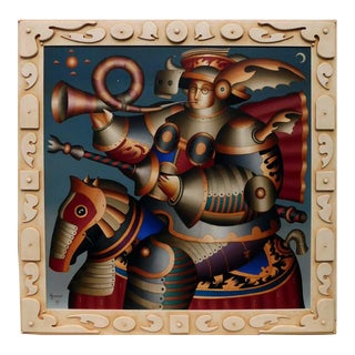 "Anton Arkhipov ""Knight of the Morning Star"" Hand Signed Oil Painting on Canvas With Custom Frame by Arkhipov, 1999 For Sale"
