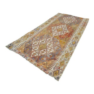 1970s Vintage Turkish Diamond Pattern Kilim Rug - 4′9″ × 10′ For Sale