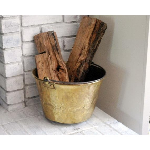 Antique Brass Bucket / Firewood Holder / Cauldron - Image 3 of 6