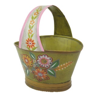 Vintage Mexican Tole Flower Basket Planter For Sale