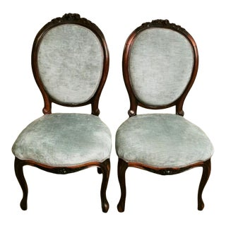 Napoleon III Style Carved Mahogany Bedroom Chairs - a Pair For Sale