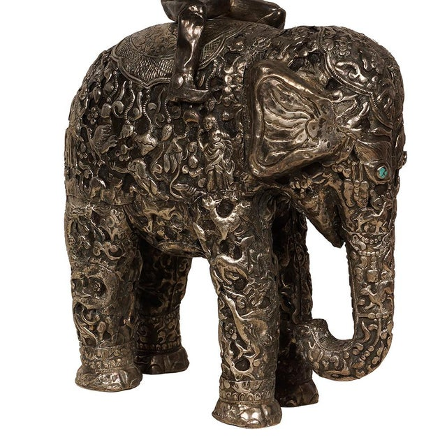 Asian Late 19th Century Antique Man on Elephant Hand Carved Tibetan Sculpture For Sale - Image 3 of 13