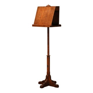 19th Century French Carved Pine and Oak Lectern Book Stand With Plaque of Origin For Sale