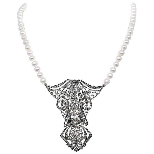 Antique Sterling Silver, Crystal and Cultured Pearl Necklace For Sale - Image 9 of 9