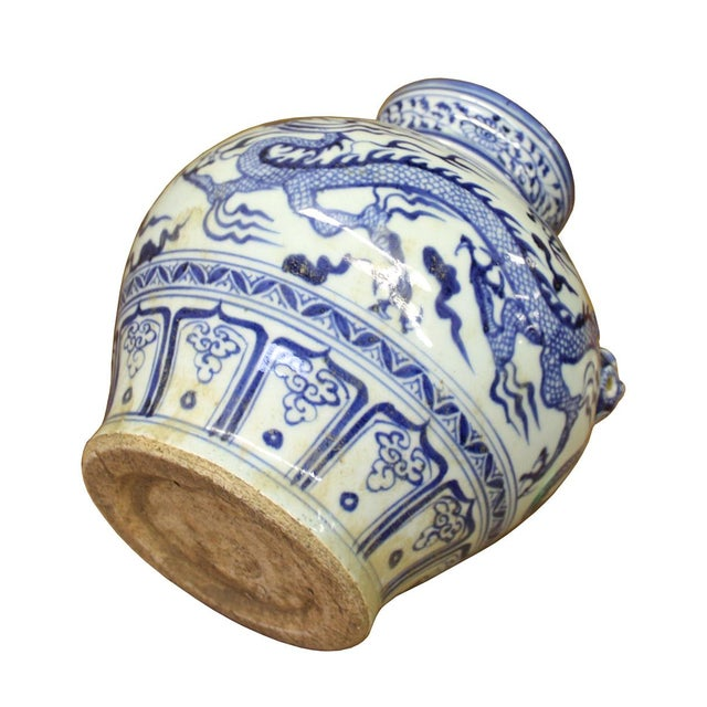 Chinese Blue White Porcelain Dragon Scenery Small Foo Dog Accent Vase Jar For Sale - Image 5 of 6