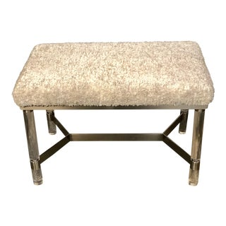 Modern Lucite and Wool Stool For Sale