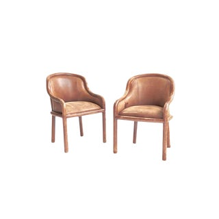 Karl Springer Leather Clad Armchairs - a Pair For Sale