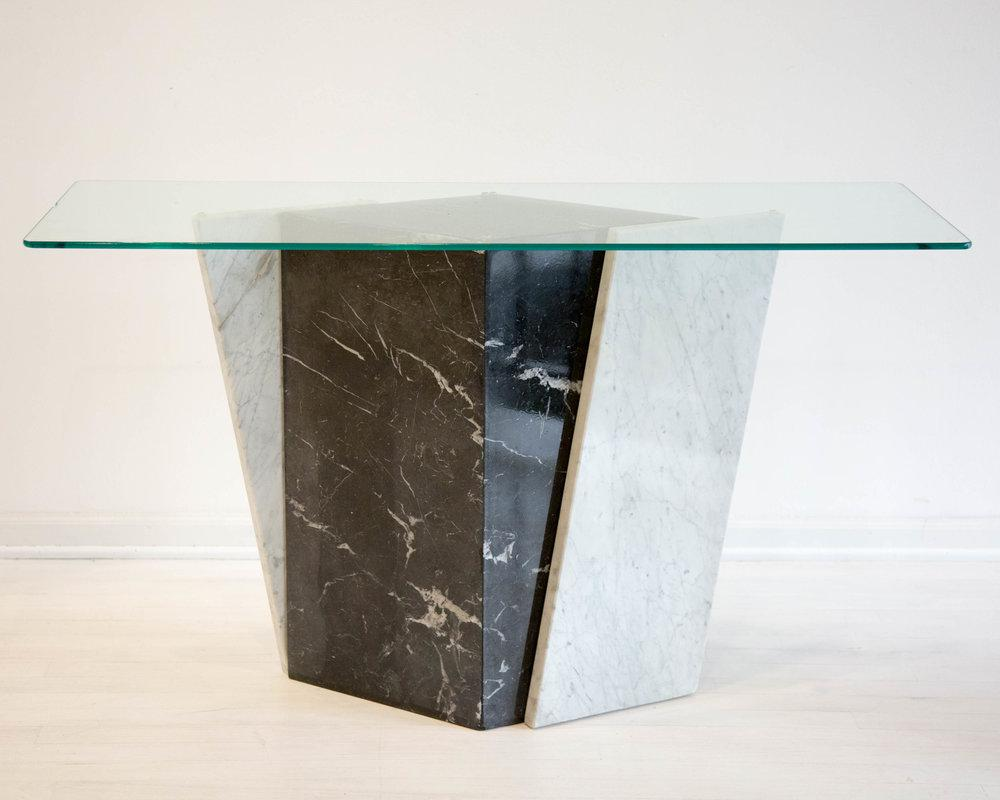 Geometric Black And White Marble Console Table With Glass Top 1980s