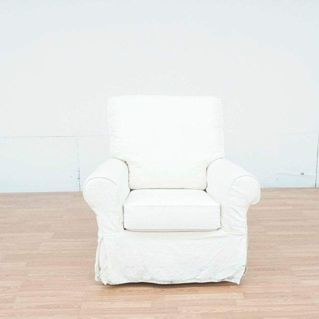 Pottery Barn White Upholstered Rocker Chair For Sale - Image 13 of 13