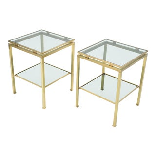 French Brass End Tables Guy Lefevre for Maison Jansen 1970s For Sale