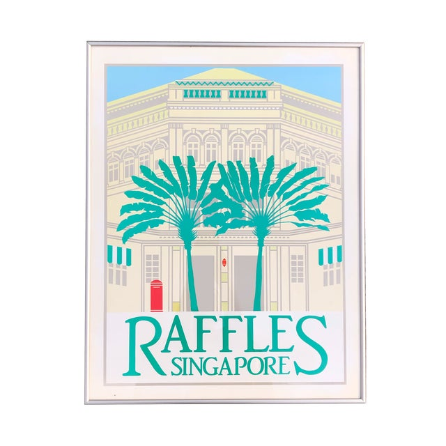 1980s 1980s Perry King Raffles Singapore Silkscreen Poster, Framed For Sale - Image 5 of 5