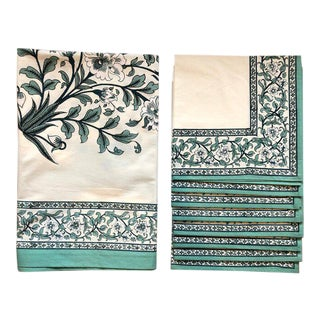 "Brigitte Singh ""Gustav Peony"" Hand Block Printed Tablecloth and Napkins - 9 Piece Set For Sale"