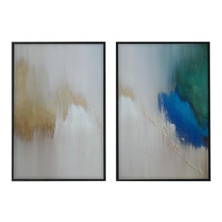 Modern Abstract Diptych, Limited Edition, Framed Wall Prints - a Pair For Sale