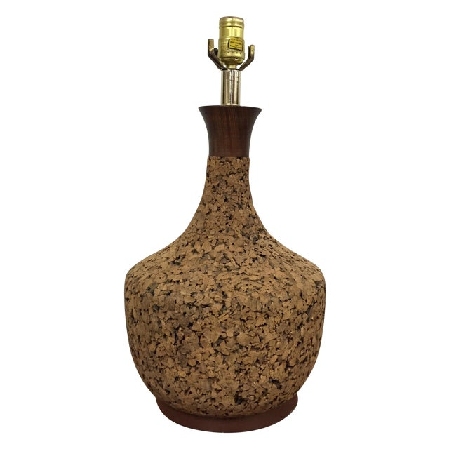 Mid-Century Cork Table Lamp - Image 1 of 8
