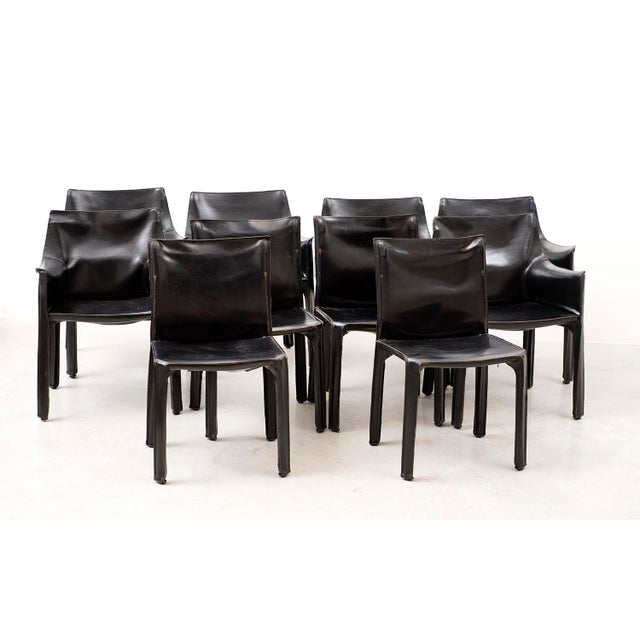 Modern Set of 10 Cab Chairs by Mario Bellini--6 Arm, 4 Side--In Black Leather, 1970s For Sale - Image 3 of 13