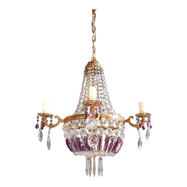 Empire Sac a Pearl Purple Chandelier Crystal Lustre Ceiling Lamp Basket Antique Brass For Sale