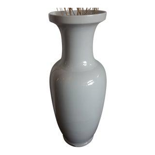 "Vintage 35.5"" Tall White Pottery Floor Vase For Sale"