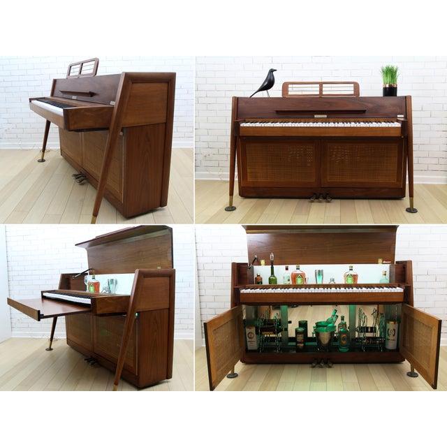Danish Modern Mid-Century Modern Hidden Piano Bar With Liquor Wine Storage - Baldwin Acrosonic For Sale - Image 3 of 12
