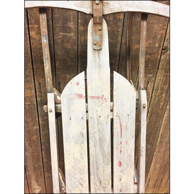Vintage Weathered Wood & Metal Runner Sled -- Lightning Guider For Sale - Image 6 of 11