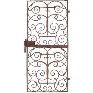 19th Century Art Nouveau Iron Garden Courtyard Door For Sale