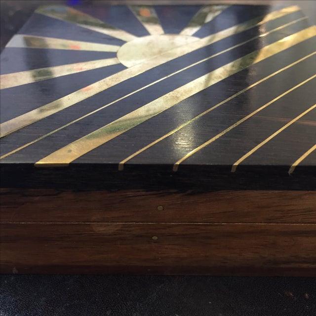 1970s Vintage Sun Brass Inlay Wood Box - Image 5 of 8