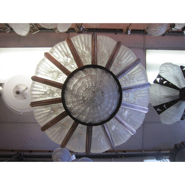 Palatial French Art Deco Fourteen Panel Chandelier by Genet et Michon For Sale - Image 10 of 11