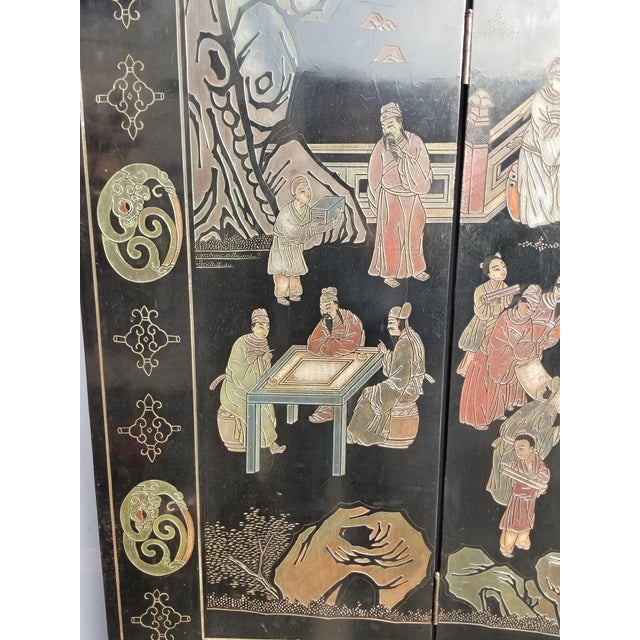 20th Century Asian Chinese Chinoiserie Black Coromandel 12 Panel Screen Oriental Asian For Sale - Image 10 of 12