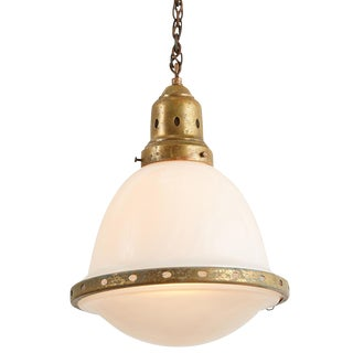 Petite Industrial Pendant W/ 2-Part Opaline Shade by Behrens Circa 1920s