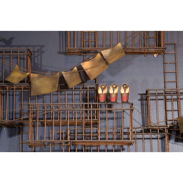 Mid-Century Modern AMAZING MONUMENTAL CURTIS JERE NEW YORK CITY FIRE ESCAPE SCENE WALL SCULPTURE For Sale - Image 3 of 6