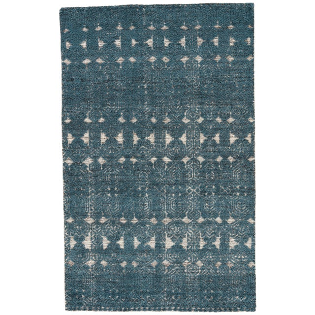 Jaipur Living Abelle Hand-Knotted Medallion Teal/ White Area Rug - 2′ × 3′ For Sale