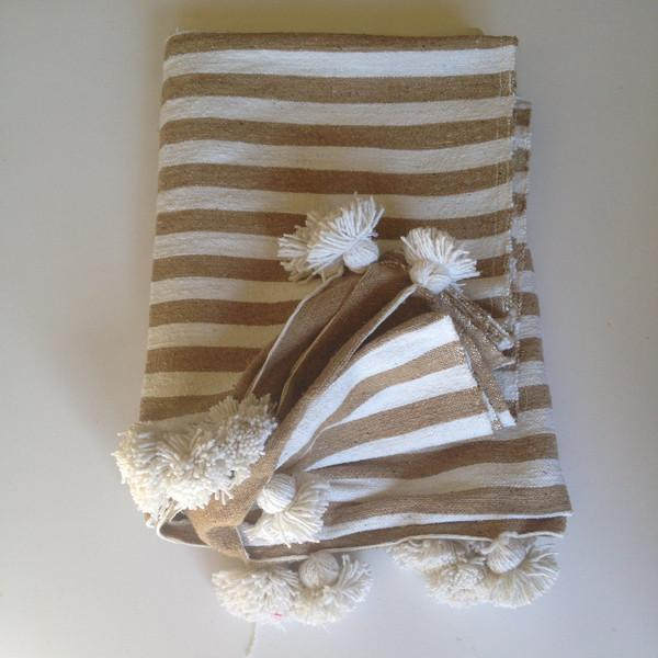 Beige Striped Moroccan Blanket with Tassels - Image 4 of 4