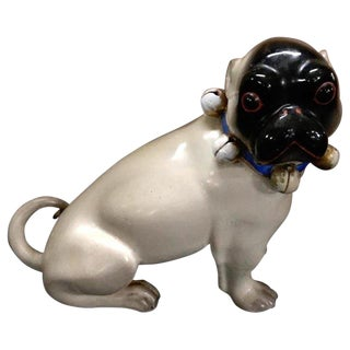 Antique German Black Faced Seated Pug Dog For Sale