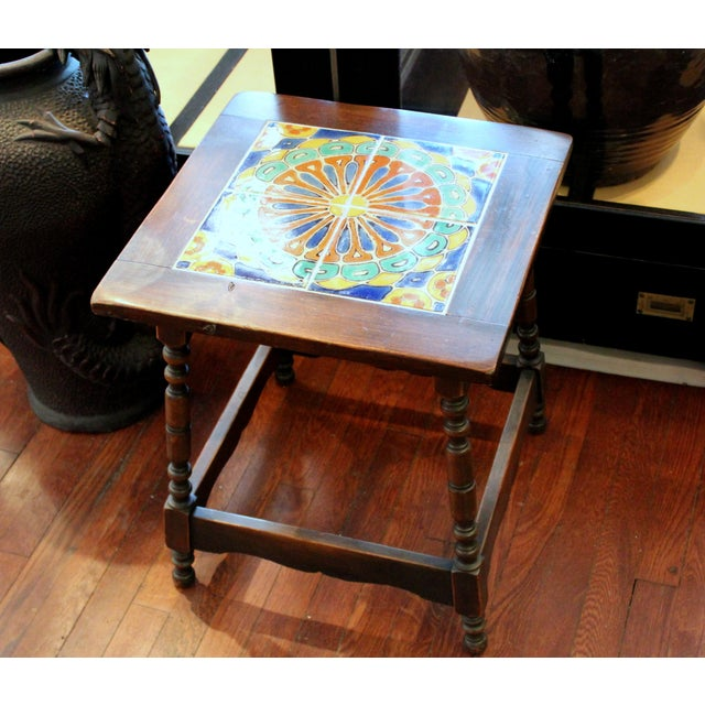 Vintage California Pottery Tile Side Table For Sale - Image 11 of 11