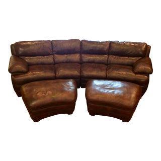 Flexsteel Leather Sectional Sofas & Ottomans - Set of 4 For Sale