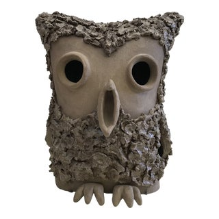 1971 Handmade Ceramic Owl Sculpture