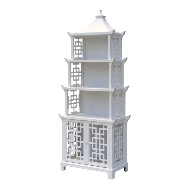 Vintage Fretwork Pagoda Bookcase or Etagere For Sale