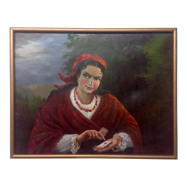 Vintage Gypsy Woman Oil Painting - Image 1 of 10