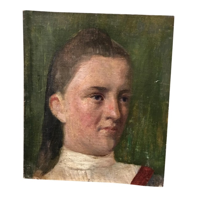 19th Century Young Girl Oil Painting - Image 1 of 5