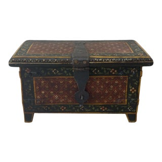 Antique Painted Box with Cast Iron Lock and Hinges For Sale