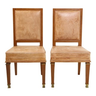 André Arbus Cerused Oak and Leather Side Chairs- A Pair