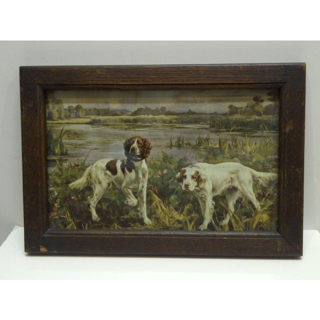 """This is a Vintage Print -- Titled """"Bird Dogs"""" -- Circa 1900 -- The Print Is Framed In A Very Heavy Duty Frame With A Glass..."""