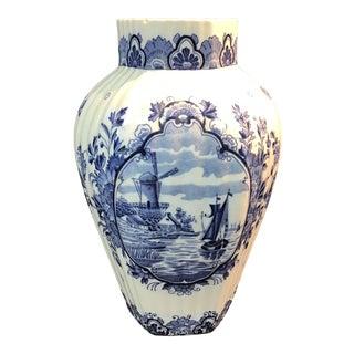 Antique Blue and White Delft Vase For Sale