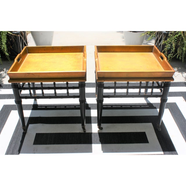 Asian Pair of Mid-Century Faux Bamboo Gold Leaf Tray Top Tables For Sale - Image 3 of 13