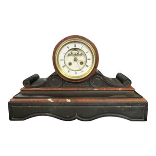 Antique French Marble Drumhead Mantel Clock by Henri Marc For Sale