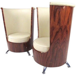 Pair of Vintage Italian Modern Highback Club Chairs For Sale
