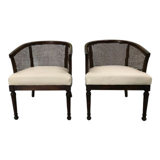 1950s Vintage Edward Wormley Style Cane Back Chairs - a Pair For Sale